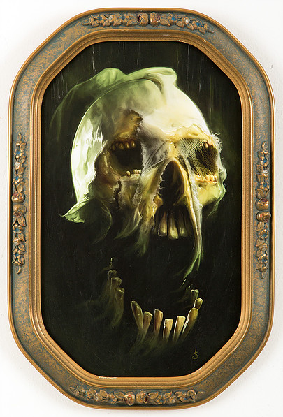 "Death -  $500   1 OF 1 MOUNTED, VARNISHED, HAND EMBELLISHED & SIGNED GICLEE PRINT •  9"" X 15"" IN ANTIQUE FRAME (Framed 10"" x 16"")   SOLD!"