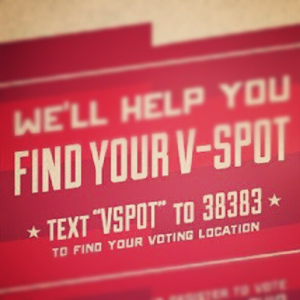 MOBILE LEAD  V-Spot, DoSomething.org  In 2008, 1.9 million people couldn't find their V-Spots – that is, their voting location.  For the 2012 election, DoSomething.org empowered its teenage audience to use a polling place locator - via text message.