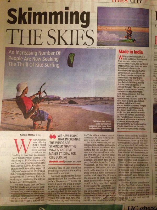 Kiteboarding is now a popular sport for students in Chennai city, India