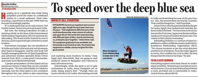 To speed over the deep blue sea- article by Times of India newspaper about Kitesurfing in India