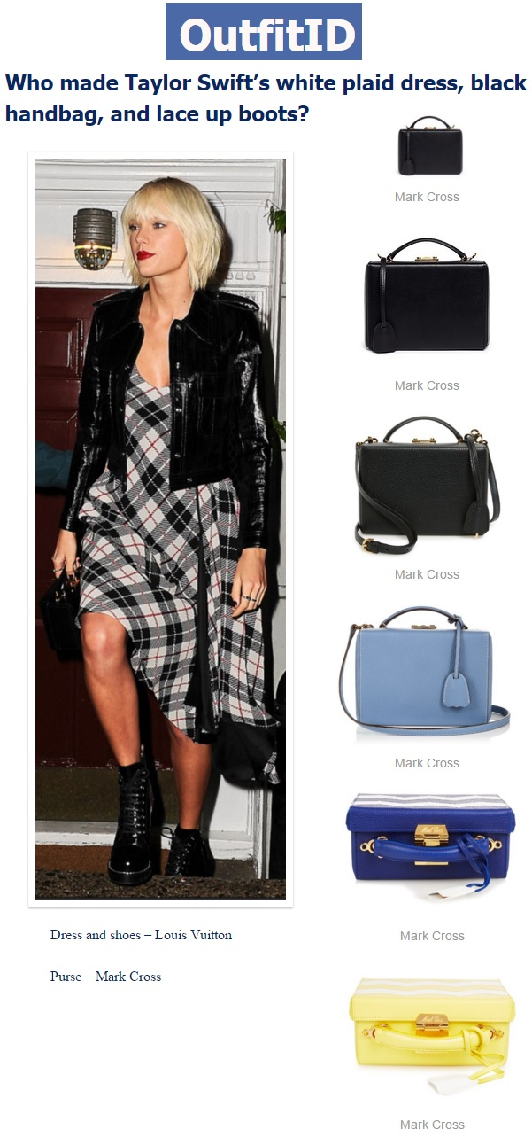 Outfit Identifier.com - Who Made Taylor Swift's White Plaid Dress, Black....jpg