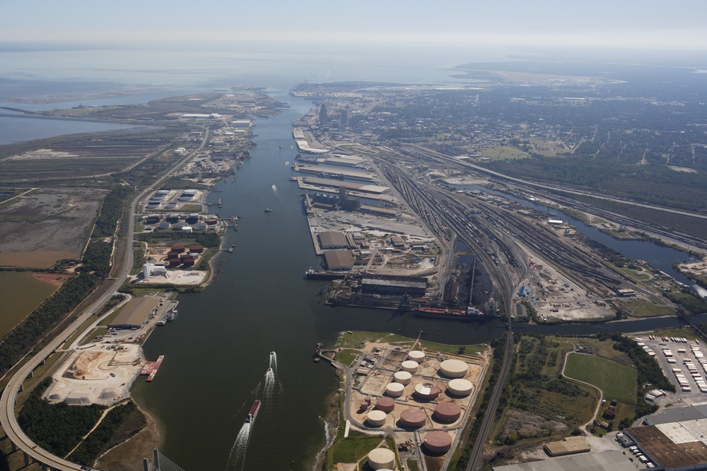 Aerial shot of the Mobile Port