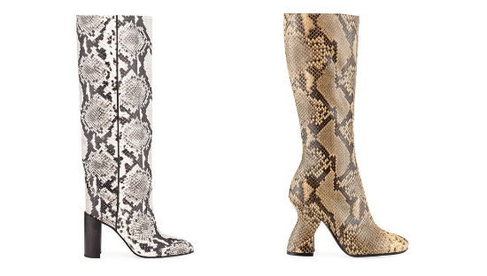 Rag & Bone Aslen Snake-Embossed Leather Tall Boots and Dries Van Noten Louis-Heel Leather Knee Boot