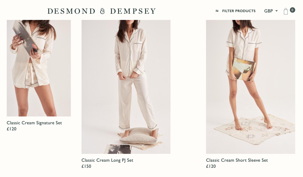 Desmond & Dempsey's  Capsule Collection of Sleepwear