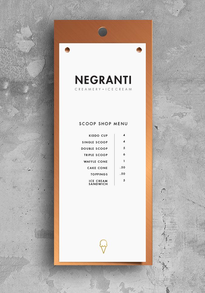 Mock up of scoop shop menus.