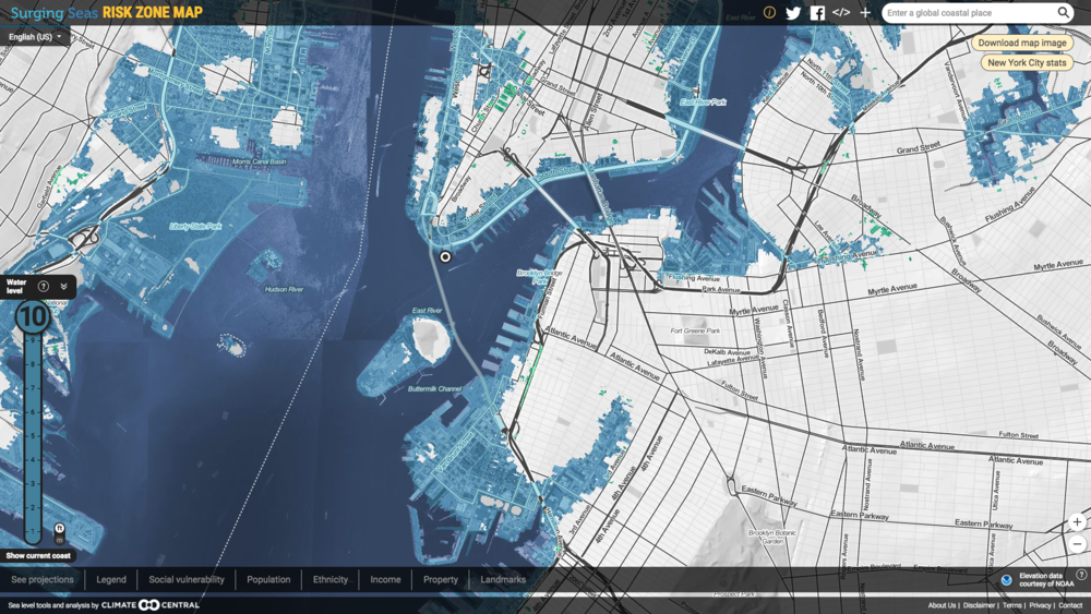 Sample sea level rise map