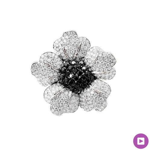 Black diamond white diamond flower brooch raf rare antique black diamond white diamond flower brooch mightylinksfo