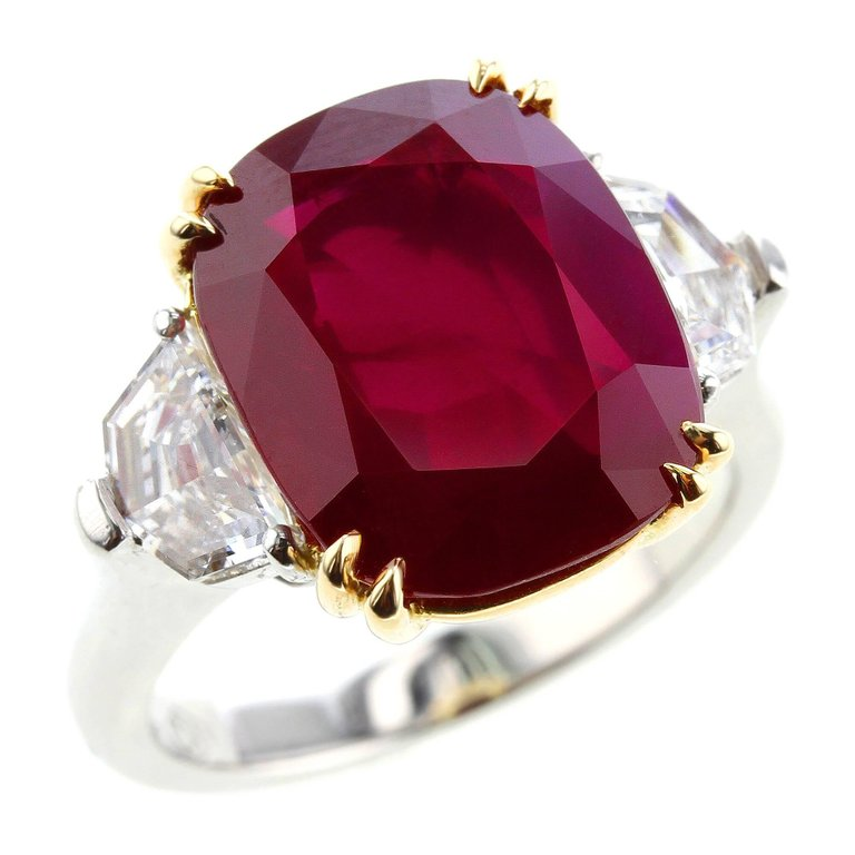 8 CT. NATURAL BURMA MOGOK RUBY AND DIAMOND PLATINUM RING