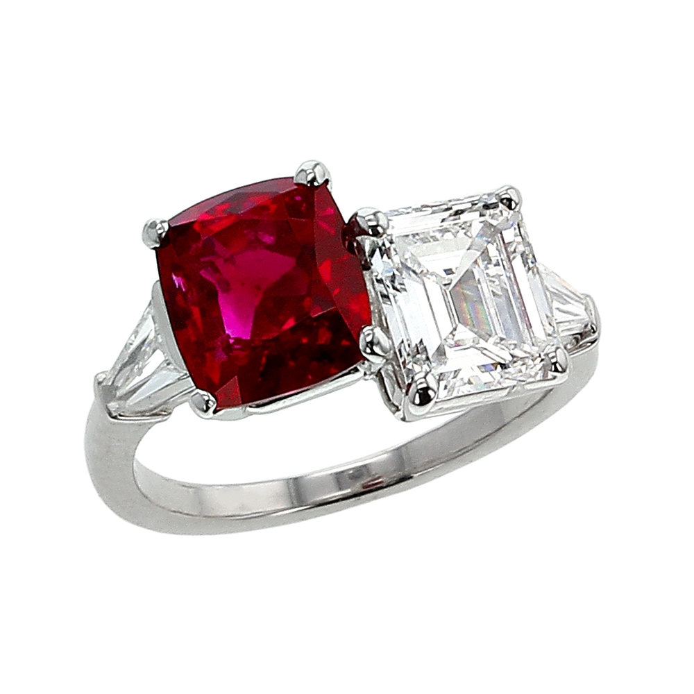 3 CT. PIGEON BLOOD NO HEAT MOGOK BURMA RUBY AND DIAMOND TWIN RING