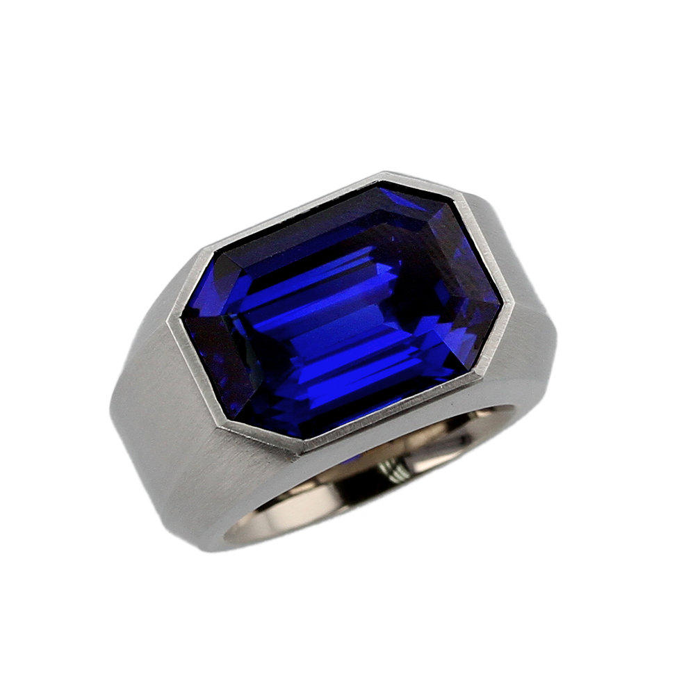 12+ CT. ROYAL BLUE BURMA SAPPHIRE & STEEL RING BY HEMMERLE