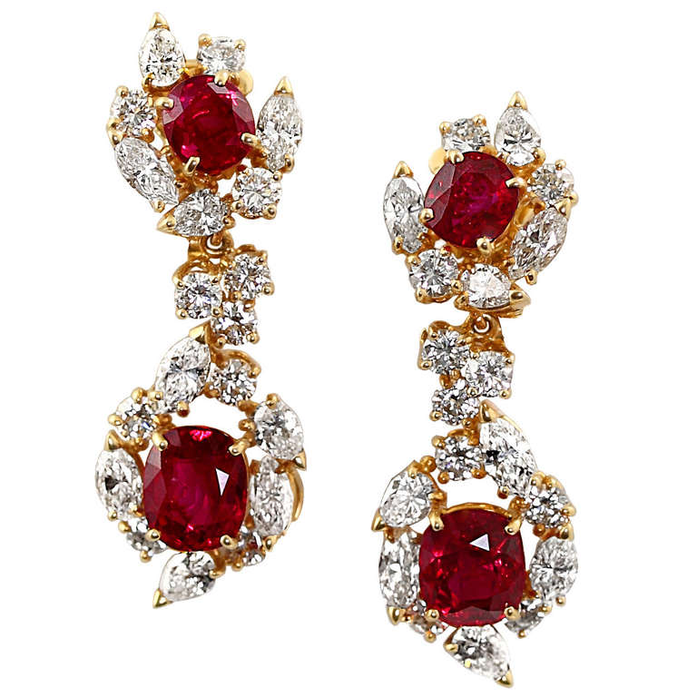 BOUCHERON BURMA NO HEAT RUBY AND DIAMOND EARRINGS