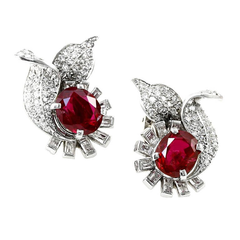 RARE 6 CT. NO HEAT BURMA RUBY AND DIAMOND EARRINGS