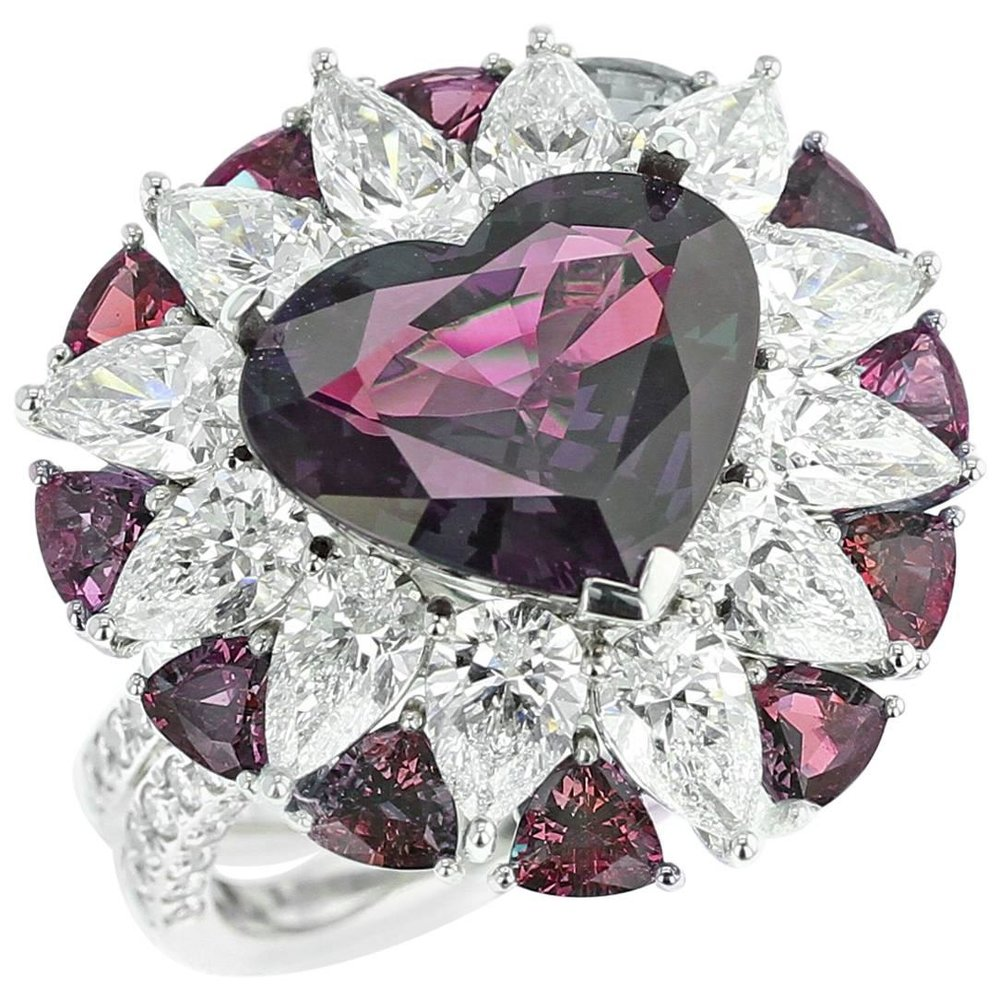 6 Carat Natural Heart-Shaped Brazilian Alexandrite and Diamond Ring