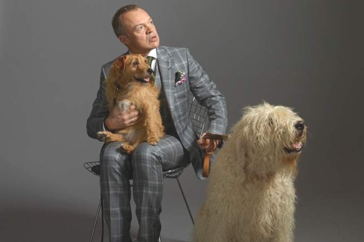 Graham Norton with Madge & Bailey. Copyright Dan Burn-Forti.    Reproduced with kind permission.