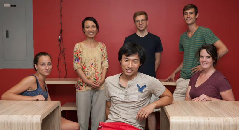 photo by Kye Liang: furniture delivered to the library (from left: Jena, me, Shichong, Nick, Matt, Megan)