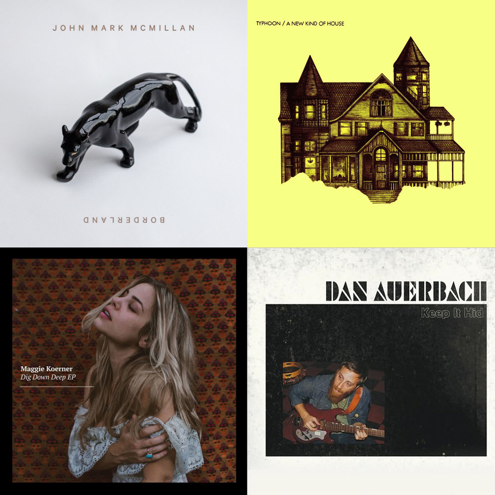 Artists's from top left to bottom right: John Mark McMillan, Typhoon, Maggie Koerner, Dan Auerbach