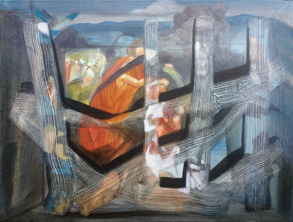"Oil and acrylic on canvas, 18"" x 24"", 2017"