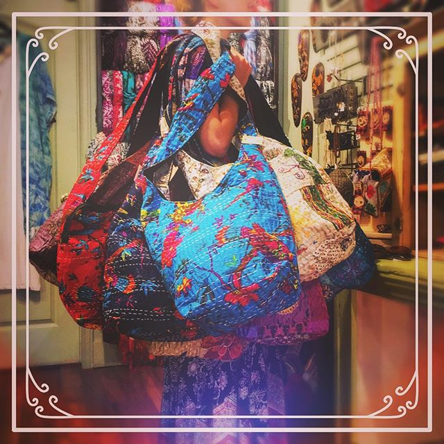 Hippie Chic purses in every colour imaginable! Hand made in India 🌸  #yycshopping #bohemiastore #turnervalley #hippiefashion #yycphotographer #shoplocal #supportlocal #madeinindia #handmade #hippie #hippiestyle #bohemia #bohemiastore #bohemian #bohostyle