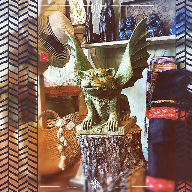 Forget a guard dog. I'm getting myself a Gargoyle!  How adorable is he?! Made in Canmore, these incredible statues come in varying sizes and colours.  @creatingdharma  #gargoyles #gargoyle #shoplocal #supportlocal #blackdiamondalberta #turnervalley #yycshopping #handmade #decor #quirkydecor #edgydecor #bohemia #bohemiastore #gothicstyle