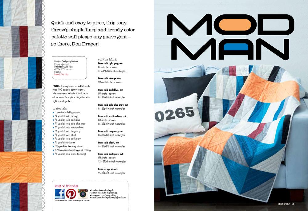 Fresh Quilts Fall 2014 |Modern Man Quilt