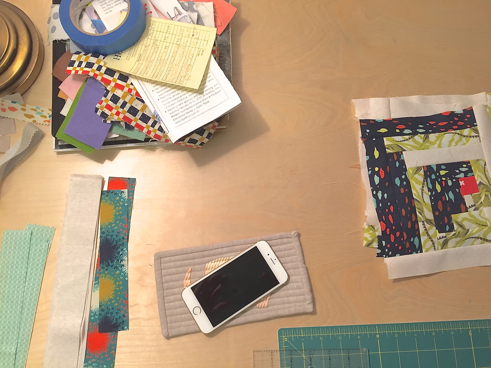 "WIP Wednesday bonus! Check out my modern log cabin blocks. They feature the delightful Cotton + Steel fabric line ""August"" by Sarah Watts."
