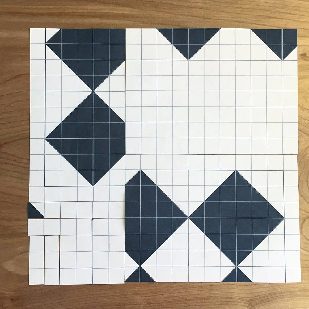 Here's an early exercise we'll do in class to explore negative space, alternate gridwork and movement in the quilt.