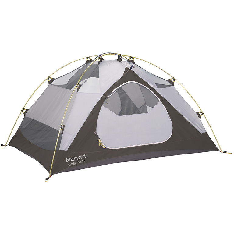 "Marmot LimeLight3  Trail Weight: 6lb 11oz Floor Area: 42.6 sq feet Head Height: 3' 10"" Vestibule: front and back"