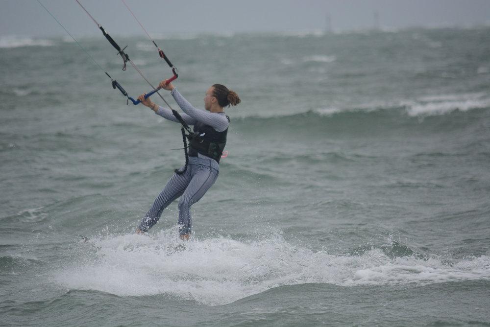 Betsy B lovin' her Carve kiteboarding get-up.