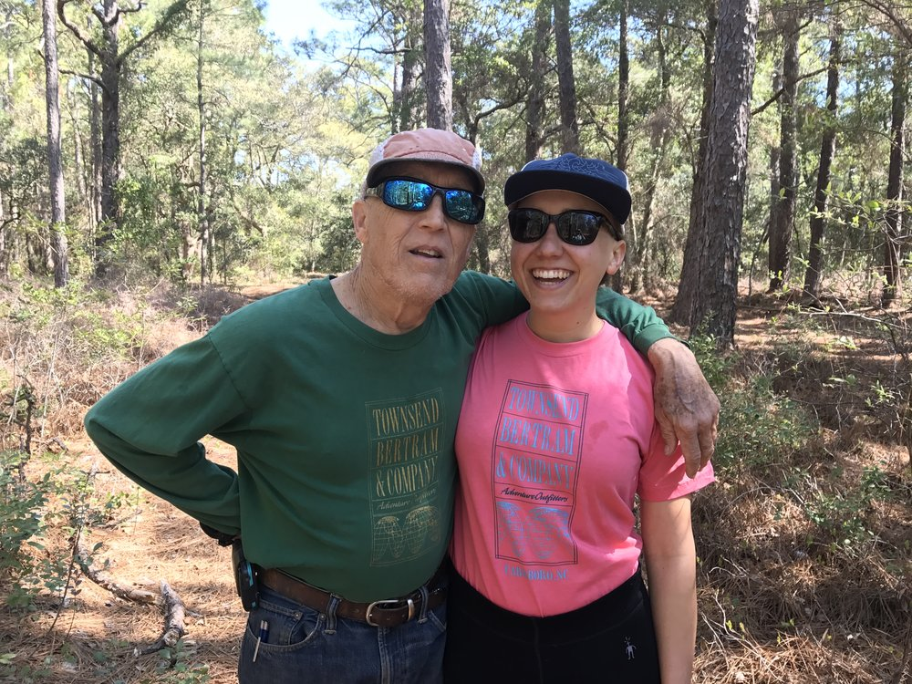 Scott B and Betsy B modeling the latests TB&C tees in the maritime forest of Beaufort, N.C.
