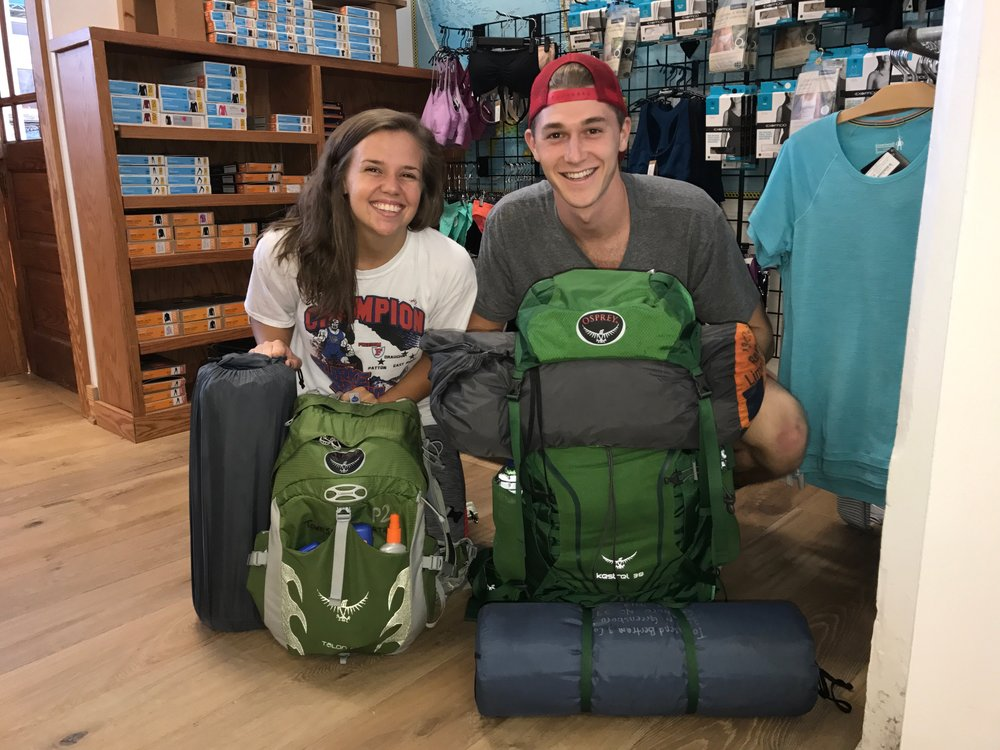 Grant and I all set to go. Thanks TB&C and Osprey Packs!