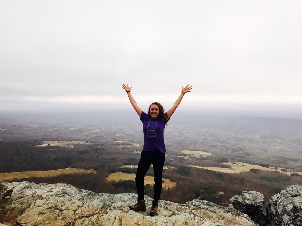 Betsy B proclaiming the amazingness of a Hanging Rock sunrise!! Totally worth waking up for pre-dawn coffee thanks to #treelinecoffee.