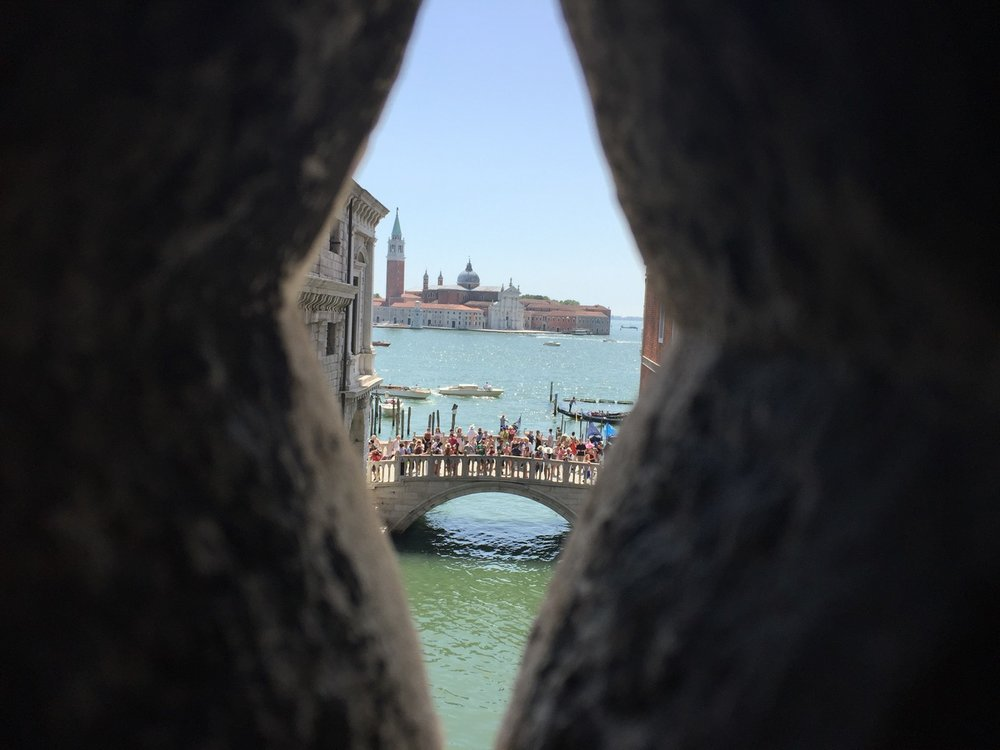 View from Bridge of Sighs in Venice, Italy.