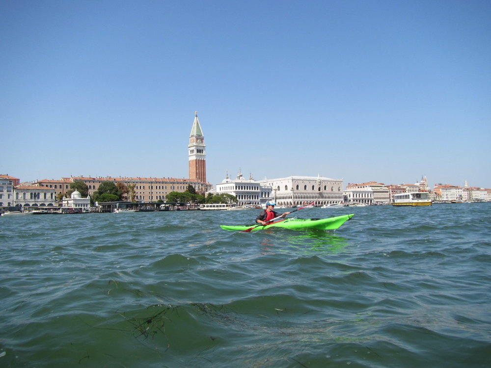 Sea kayaking in Venice, Italy.