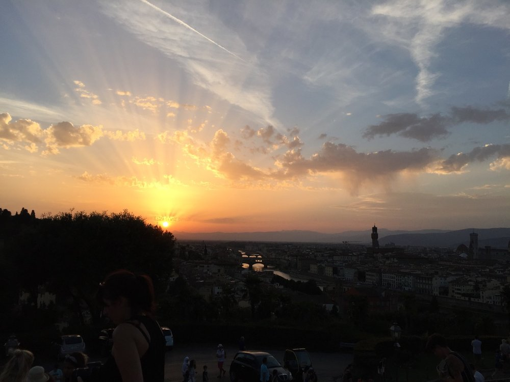 Sunset over the River Arno in Florence, Italy.