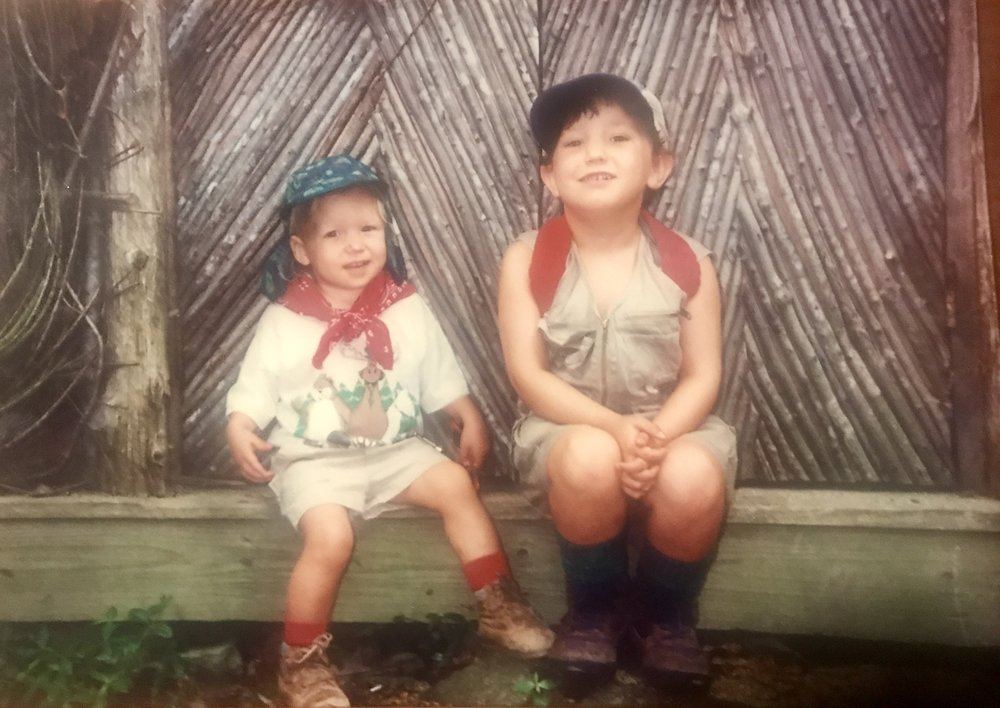 Audrey and Scott's children, Ella (left) and  Betsy  (right) in their favorite camping outfits circa 1995. Betsy is now the Brand Developer at TB&C.