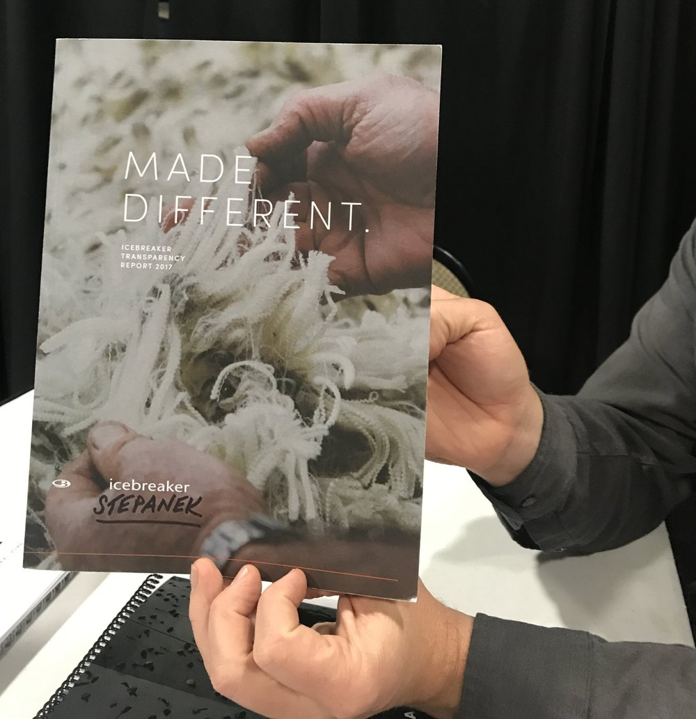 In 2017  Icebreaker  published a beautifully done Transparency report! This is such a great example of doing business differently. We get our very own copy coming in the mail soon. Stay tuned on social media to hear when it lands so you can come in and read about Icebreaker's product development and commitment to sustainability.