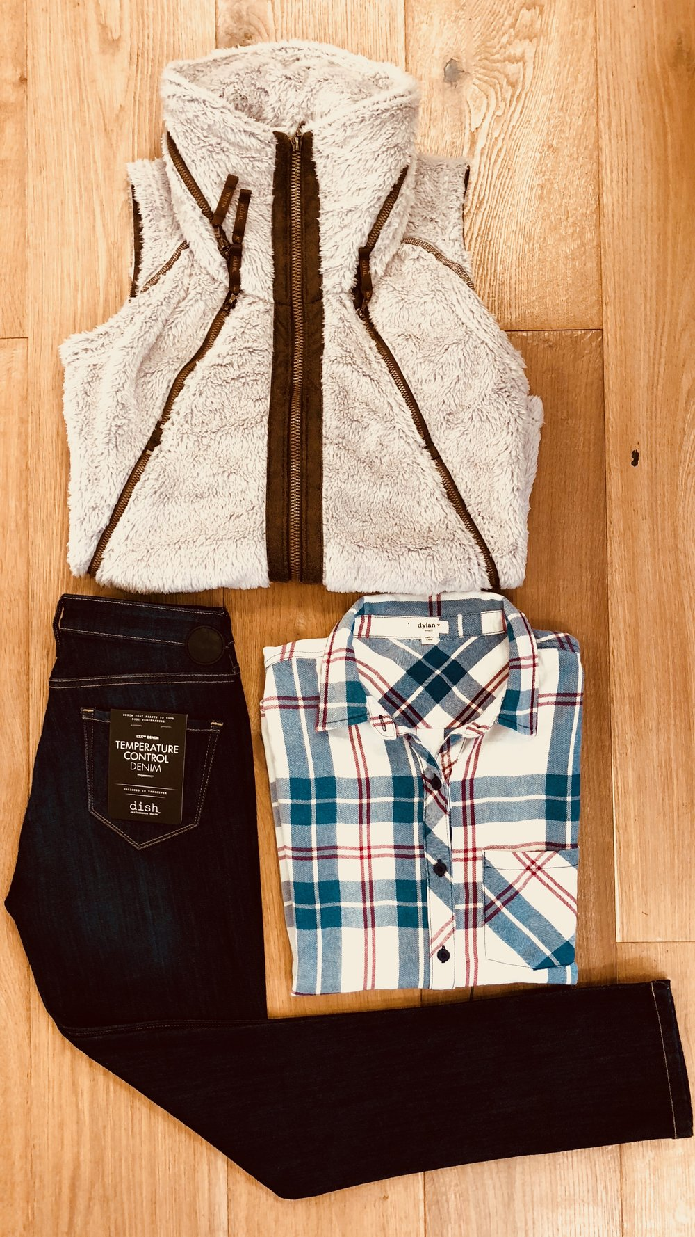 COZY WEEKEND  - Kuhn Flight Jacket, Dish Jeans and a flannel from Dylan create a killer outfit that is comfortable and stylish.