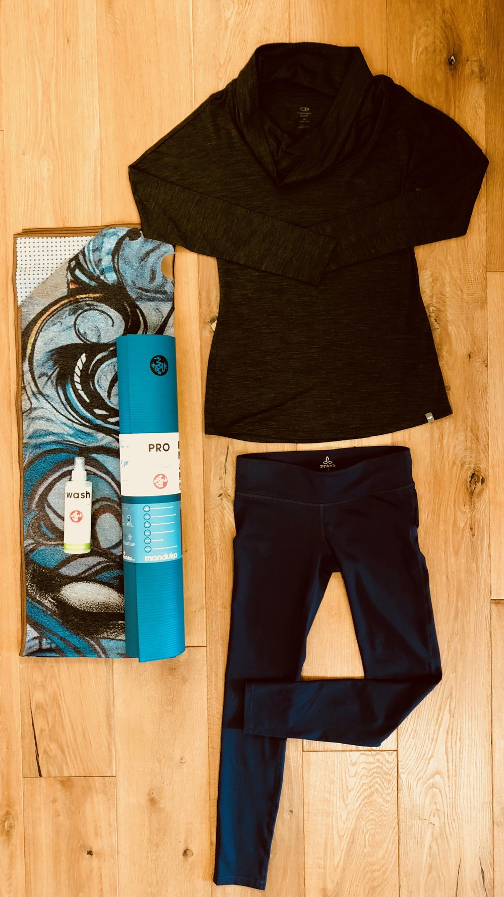 RE-TREAT  - For the yogi in your life: a Manduka mat, towel and wash. Compliment the gear with a pair of Prana leggings and Icebreaker top great for layering over a yoga tank.