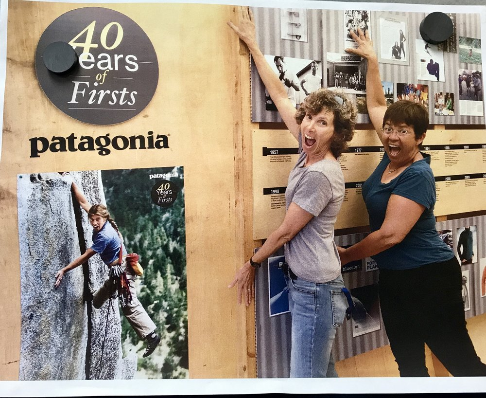 Terri and Val sharing their passion for Patagonia and celebrating their 40 year timeline for the company!