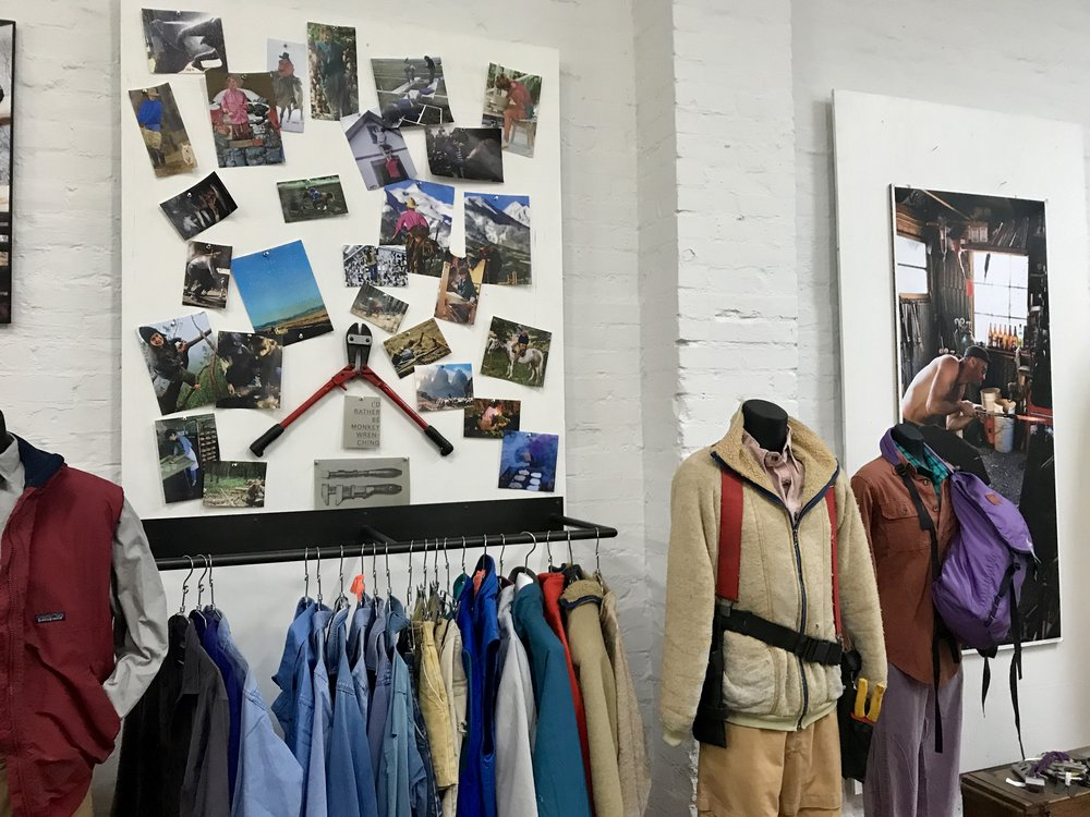 Some of Yvon's original Patagonia pieces with a creative display by Terri and Val.