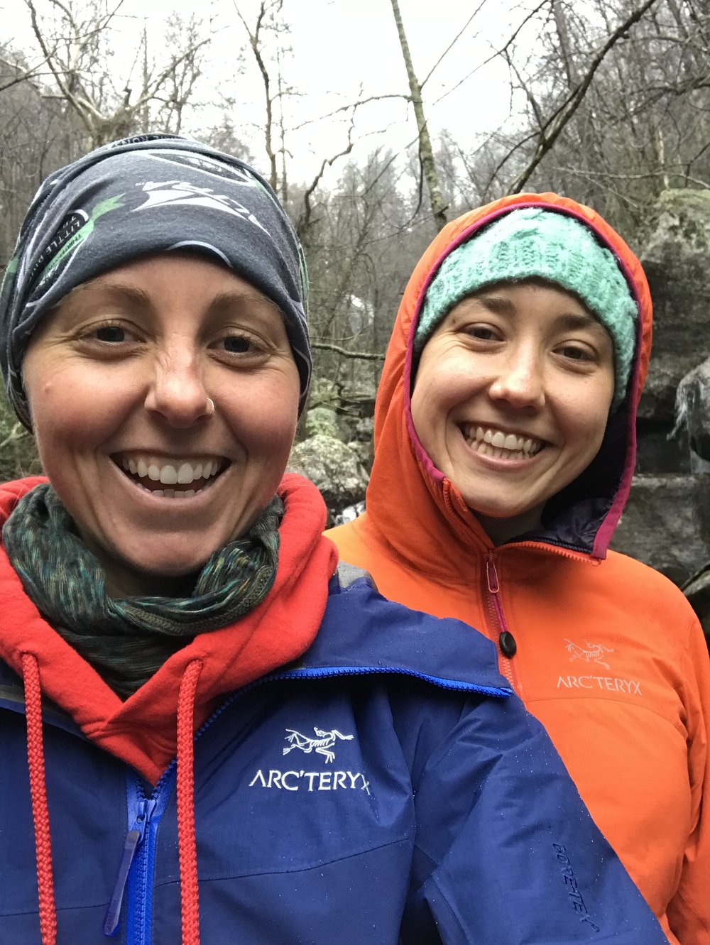 Erin and Betsy rocking Arc'teryx staying warm and dry :)