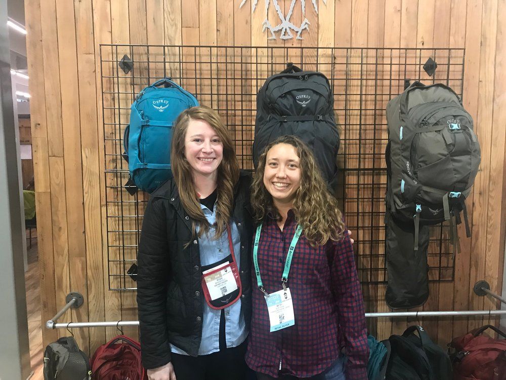 Rosie Mansfield and Betsy Bertram at Outdoor Retailer post interview at the Osprey booth.