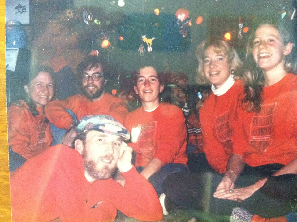 Staff holiday party photo circa 1989.