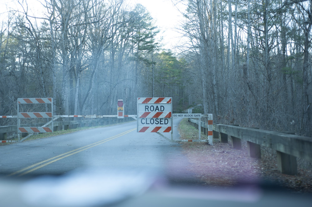 I took this picture driving up the Blue Ridge Parkway the first week of January. There was a line of cars and people turning away.
