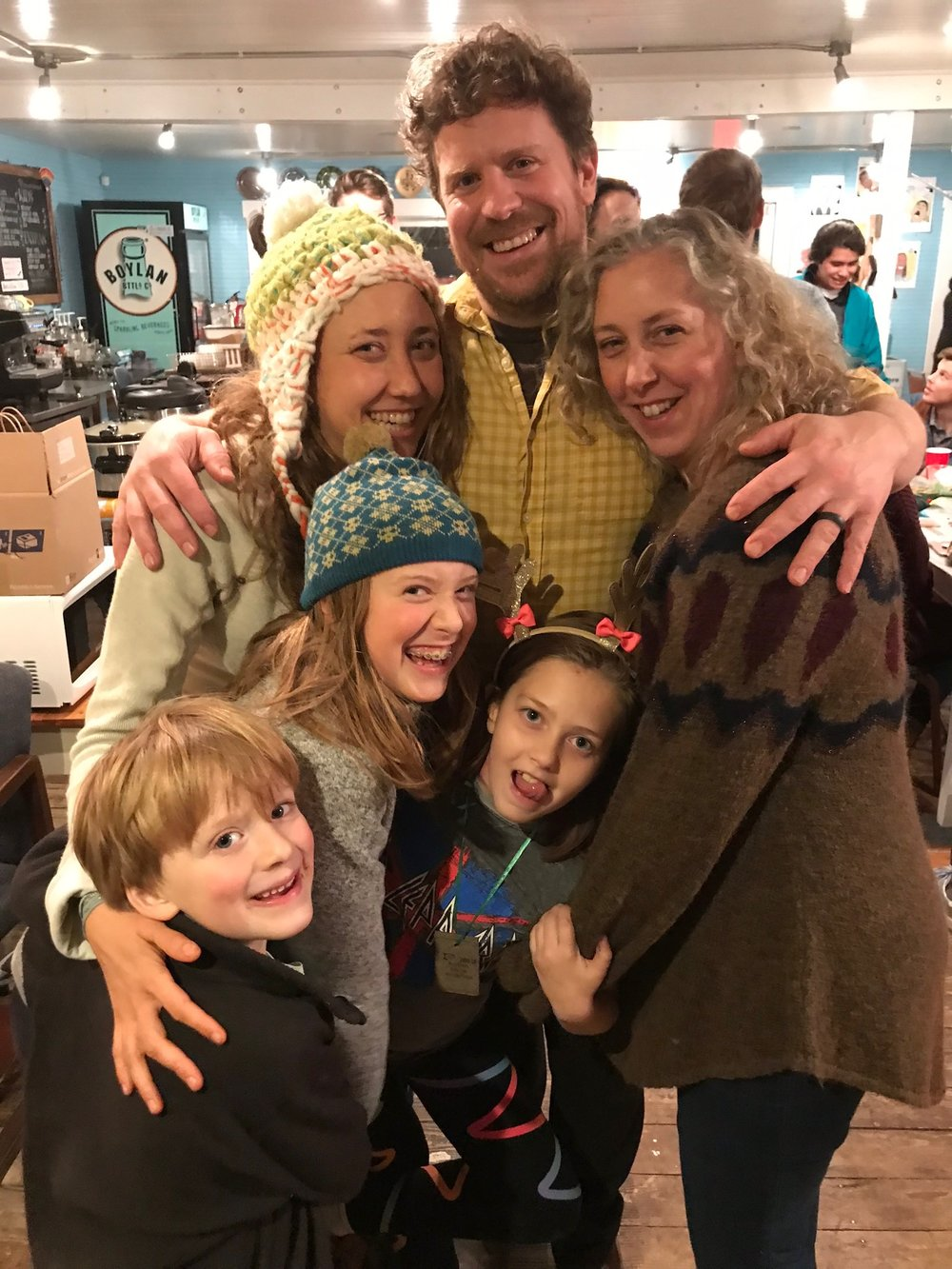 Betsy, Taylor and Sara with Louis, Isla and Rowan at the TB&C holiday staff party at  Johnny's Gone Fishing coffee shop . #familybusiness