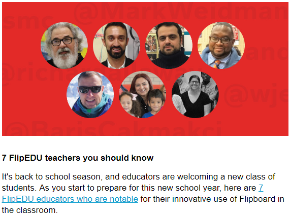 One of '7 FlipEDU teachers you show know' in the Flipboard August 2017 newsletter.