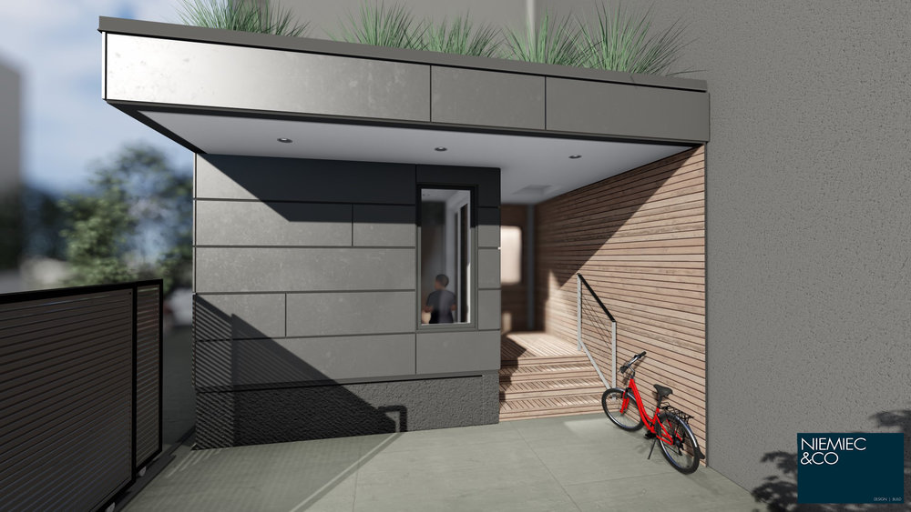 A teak wrapped porch defines the outdoor space for bike and stroller storage .u0026nbsp; & S 9TH RESIDENCE u2014 NIEMIEC u0026 CO