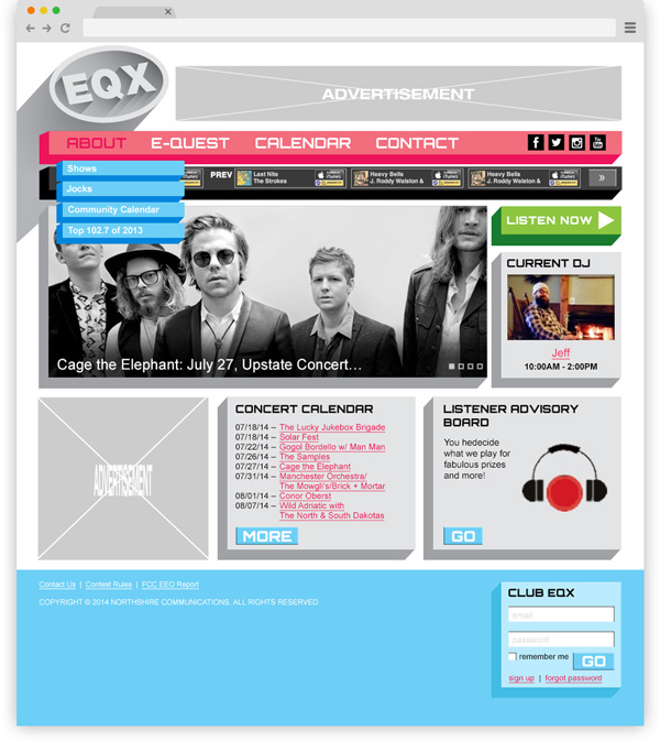 Mock-up of the EQX website.