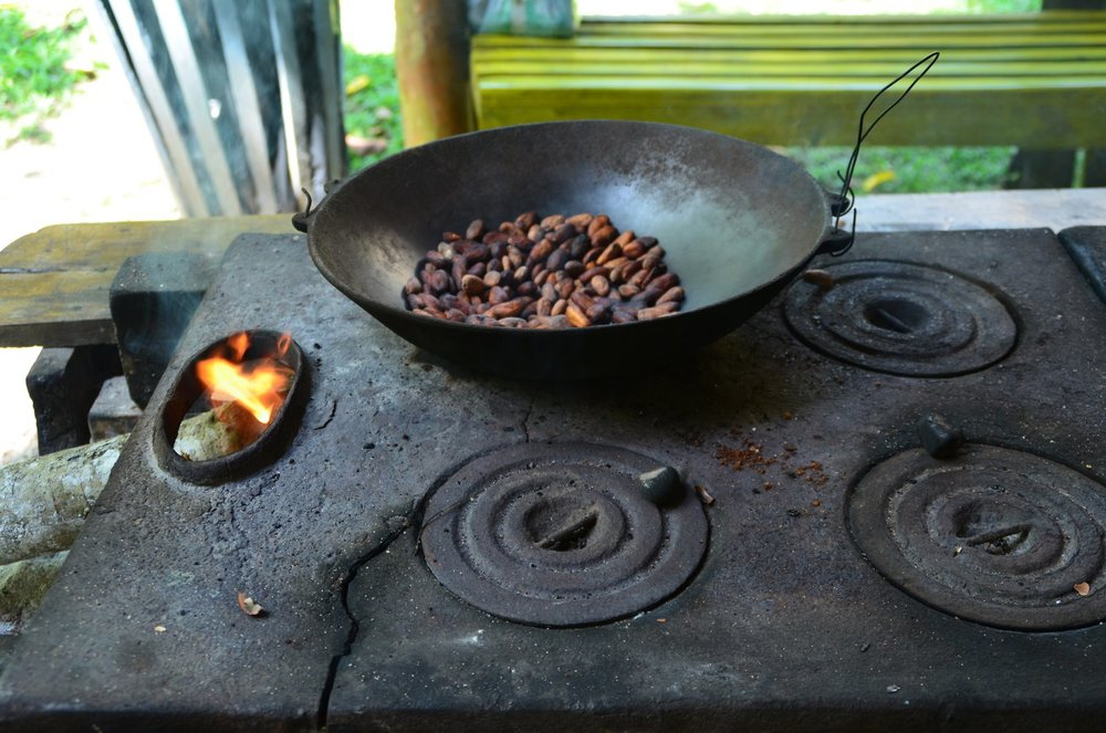 cacao beans ready to roast in the cast iron skillet