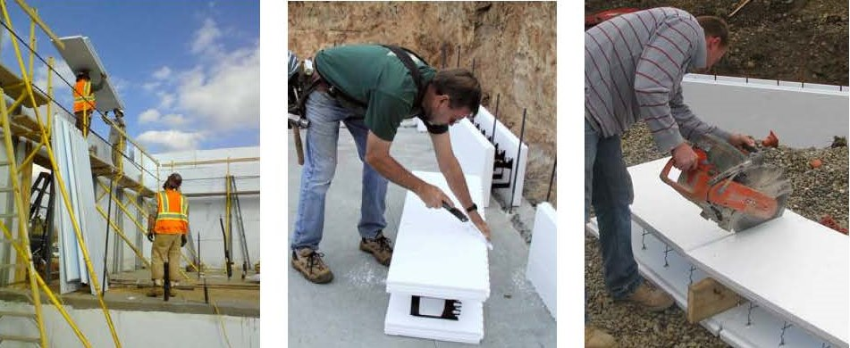 Polycrete Big Block shown on the left and right, dwarfs the common little plastic-tied ICF in the center picture.